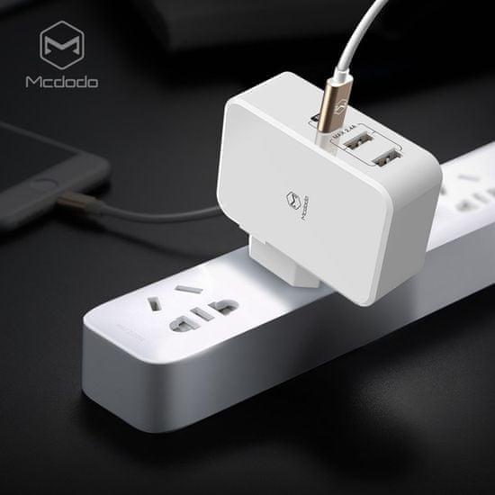 Mcdodo ładowarka z 2x USB i 1x USB-C, 2.4A (US Plug), biała, CH-5210