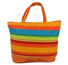 DUE ESSE Plážová taška s farebnými pruhmi