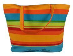 DUE ESSE Plážová taška s barevnými pruhy D