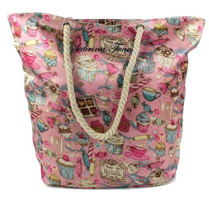 DUE ESSE Saténová plážová taška, růžová