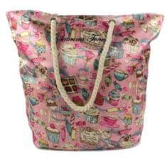 DUE ESSE Saténová plážová taška, ružová