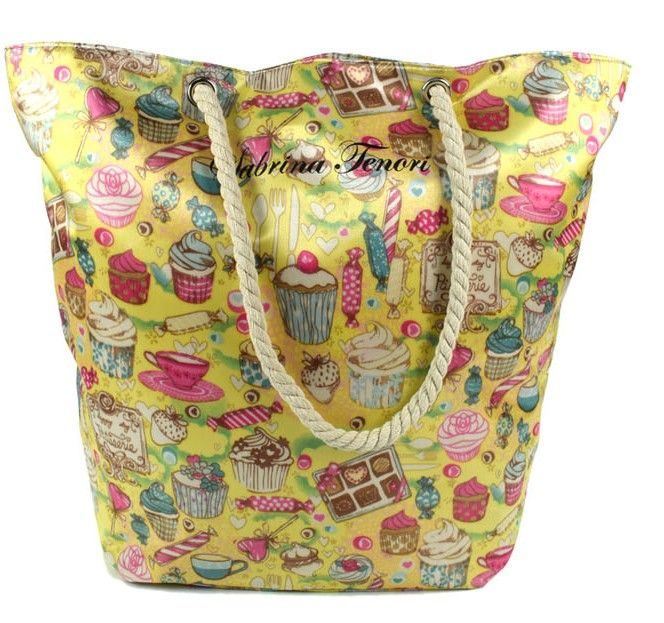 DUE ESSE Saténová plážová taška, žlutá