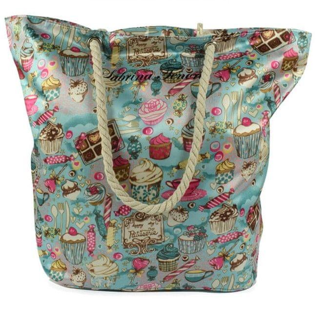 DUE ESSE Saténová plážová taška, modrozelená