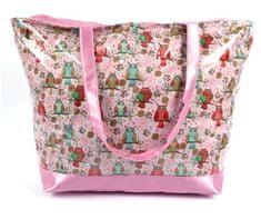 DUE ESSE Plážová ružová taška Onshore PVC motív sovy, ružová