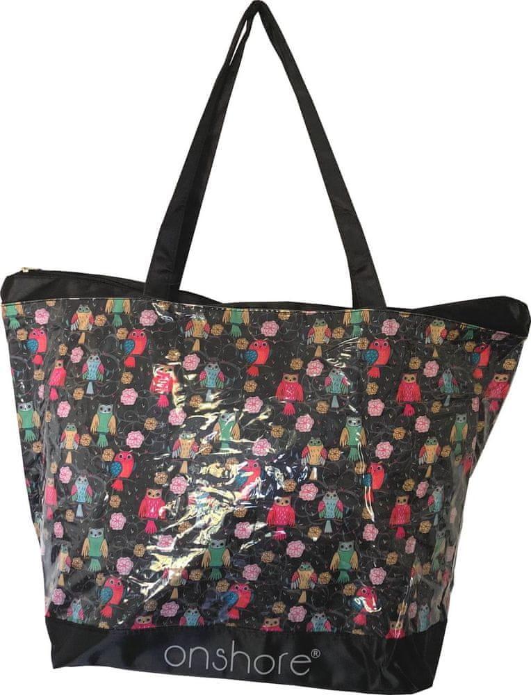 DUE ESSE Plážová růžová taška Onshore PVC motiv sovy, černá