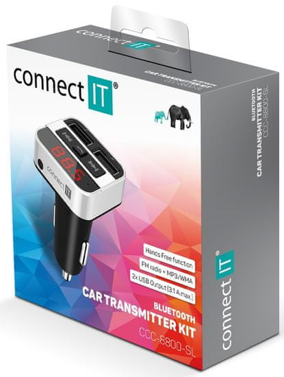 Connect IT InCarz Bluetooth transmitter, strieborný, CCC-8800-SL