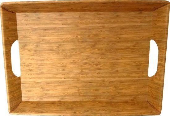 DUE ESSE Podnos s uchy Bamboo Nature 38,5 x 28,5 cm, světlý