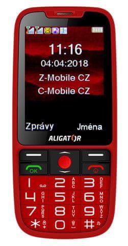 Aligator A890 GPS Senior, červený - rozbaleno
