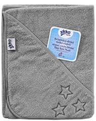 XKKO BIO Organic pamut frottír fürdőlepedő kapucnival, 90x90cm - Silver Stars