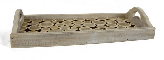 DUE ESSE Dřevěný podnos s uchy 40 x 18,5 cm