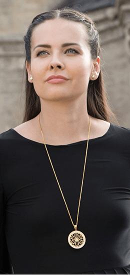 Preciosa Pozlačena ogrlica s kristali Rosette 7239Y00