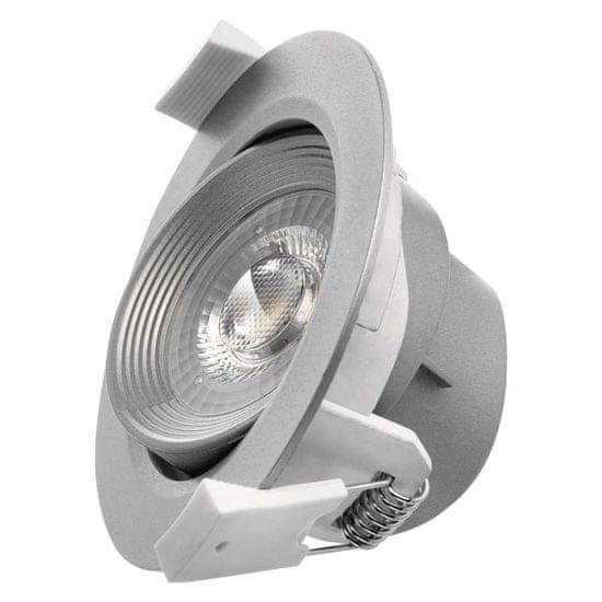 EMOS LED bodové svietidlo strieborné, kruh, teplá biela (7 W)