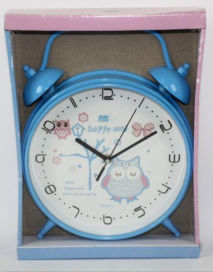 DUE ESSE Nástěnné hodiny ve tvaru budíku se sovou 25,5 cm, modré