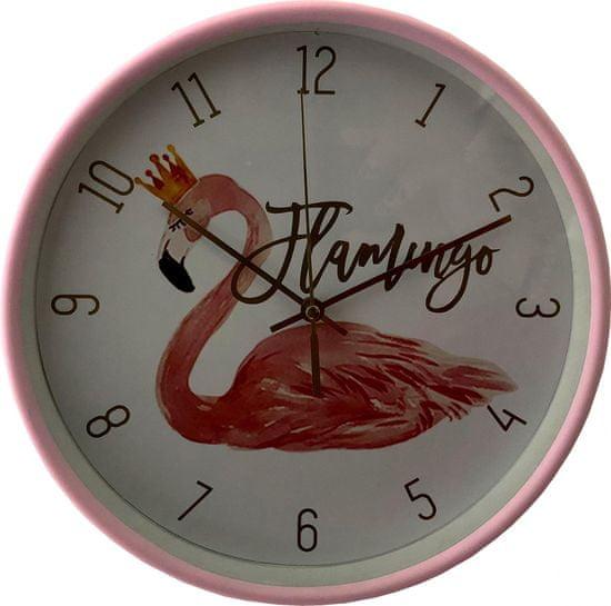 DUE ESSE Nástěnné hodiny Plameňák 25 cm, růžové