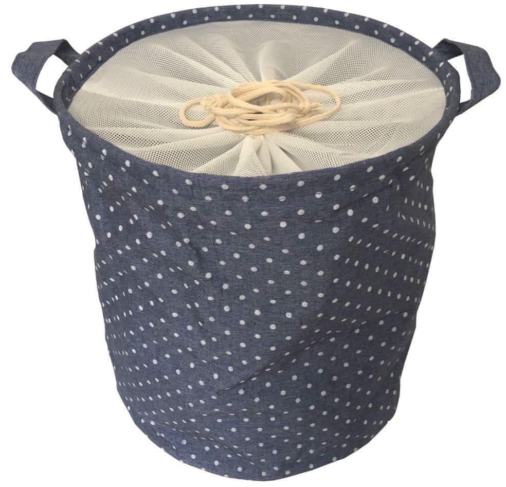 DUE ESSE Látkový skládací koš na prádlo 35 cm, tmavě modrý