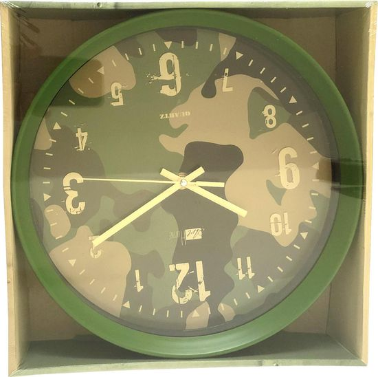 DUE ESSE Nástěnné hodiny Art Home maskovací vzor 28 cm, zelené