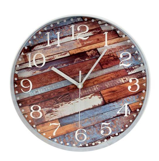DUE ESSE Nástěnné hodiny cihly efekt dřevo do červena 30 cm