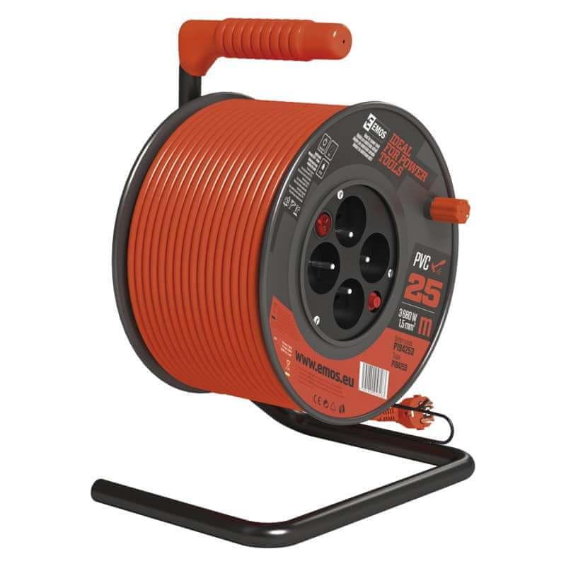 Emos PVC kabel na bubnu s vypínačem – 4 zásuvky, 25 m, 1,5 mm2
