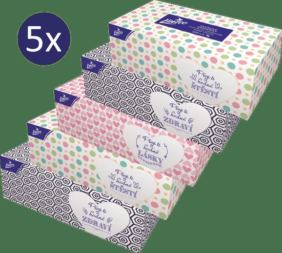 LINTEO Papirnate maramice u kutiji, 5 x 200 komada