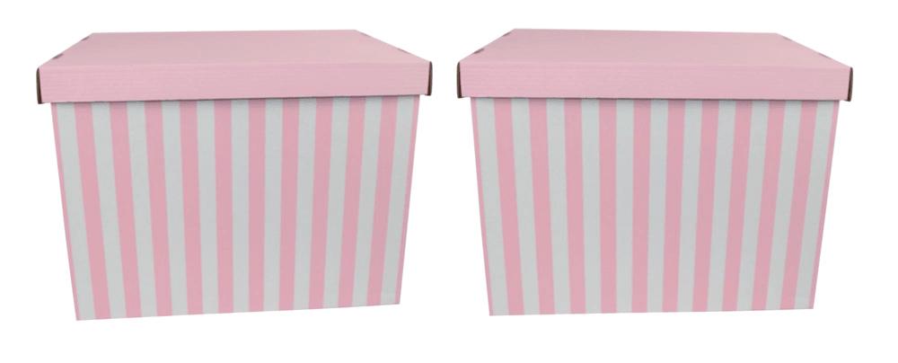 DUE ESSE Set 2ks skladovacích úložných krabic 42 x 32 x 32 cm, růžové proužky
