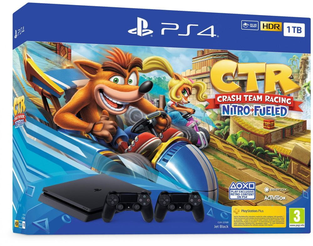 Sony Playstation 4 Slim - 1TB + Crash Team Racing + 2x ovladač