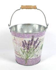 DUE ESSE Vědro Levandule Provence, obal na květináč nebo dekorace (15 cm)