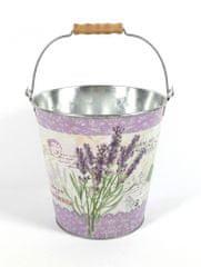 DUE ESSE Vědro Levandule Provence, obal na květináč nebo dekorace (20,5 cm)