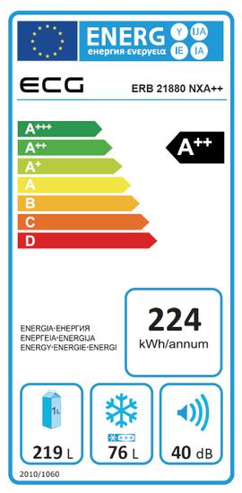 ECG lednice s mrazákem ERB 21880 NXA++ + prodloužená záruka na 3 roky + na 10 let na motor