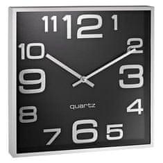 Alco stenska ura. kvadratna črna/srebrn okvir