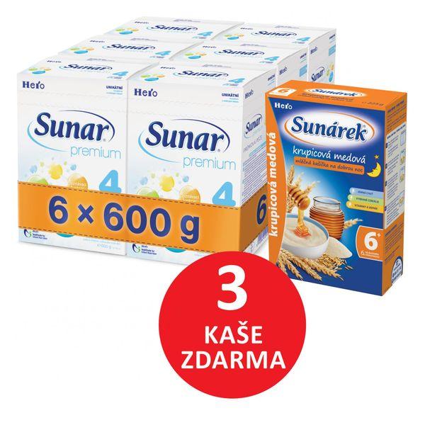 Sunar kojenecké mléko Premium 4 - 6 x 600g