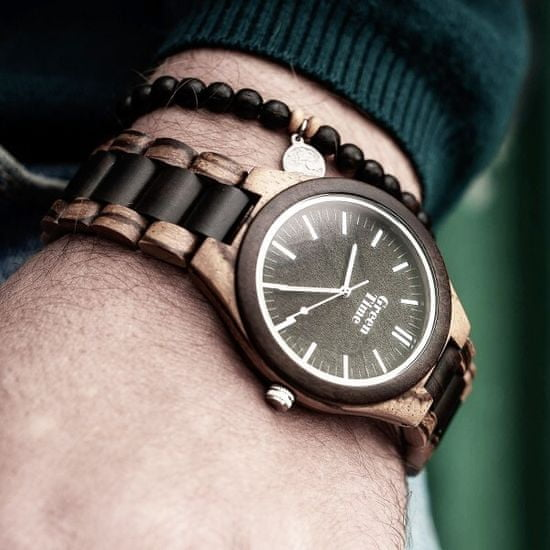 Green Time Zapestnica iz lesenih kroglic in tigrastega očesa ZWB222D
