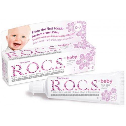 R.O.C.S. zobna pasta Baby Mild Care z okusom lipe za dojenčke (0-3 let)