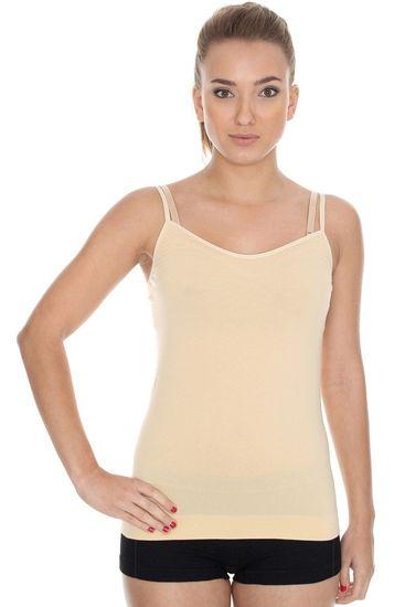 Brubeck Női alsóing CM 00210 Camisole beige + Nőin zokni Gatta Calzino Strech, bézs, XL