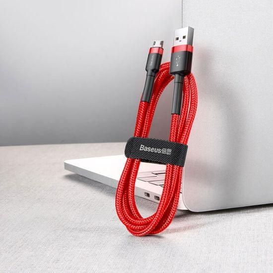 BASEUS podatkovni kabel Cafule microUSB CAMKLF-B09, 1 m, rdeč