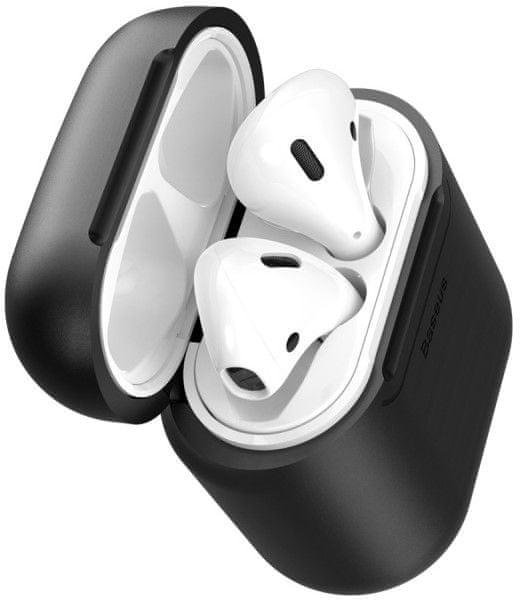 BASEUS Bezdrátové silikonové nabíjecí pouzdro pro sluchátka Apple AirPods WIAPPOD-01, černé