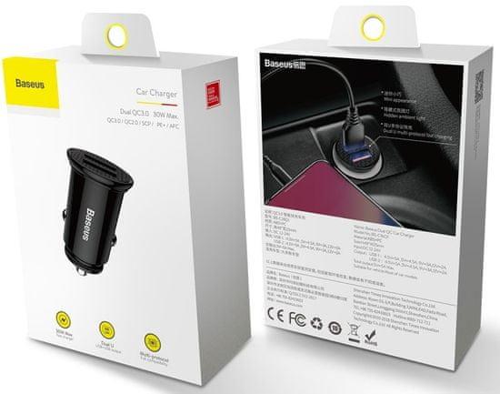 BASEUS Circular nabíjačka do auta s 2 × USB CCALL-YD01, čierna