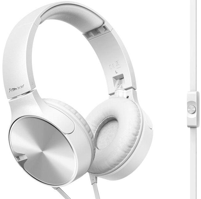 Pioneer SE-MJ722T-W sluchátka s mikrofonem, bílá