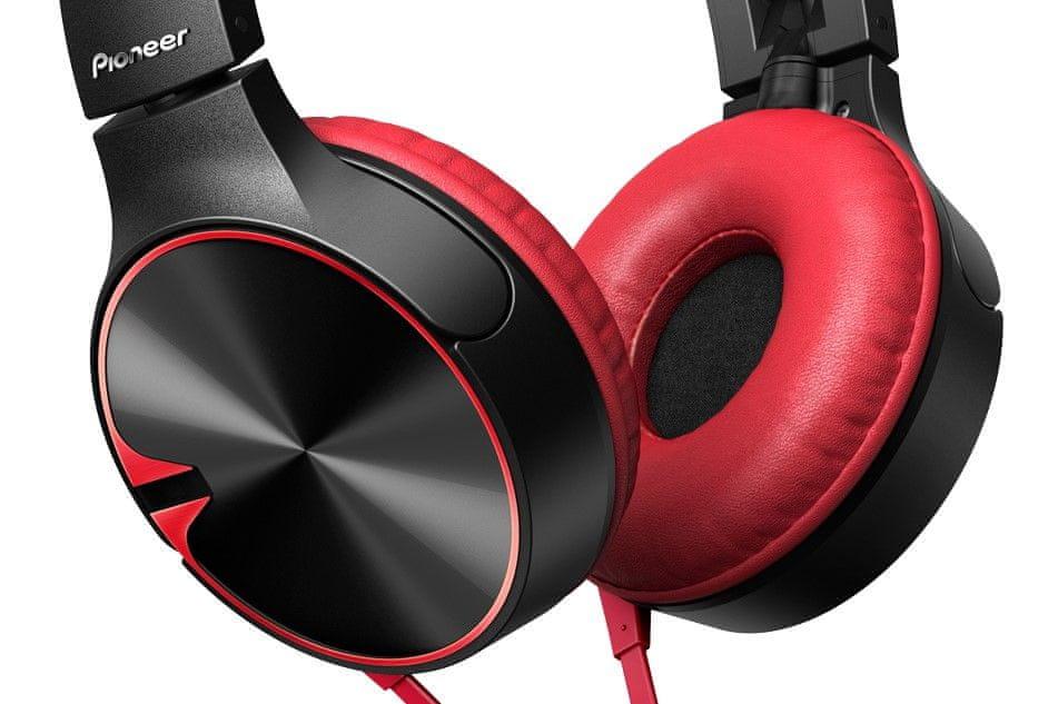 Pioneer SE-MJ722T-R sluchátka s mikrofonem, černá/červená
