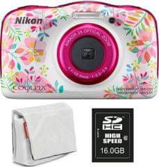 Nikon Coolpix W150, digitalni fotoaparat + SD16GB + torbica bela/roza