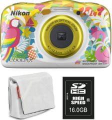 Nikon Coolpix W150, digitalni fotoaparat + SD16GB + torbica rumena/bela