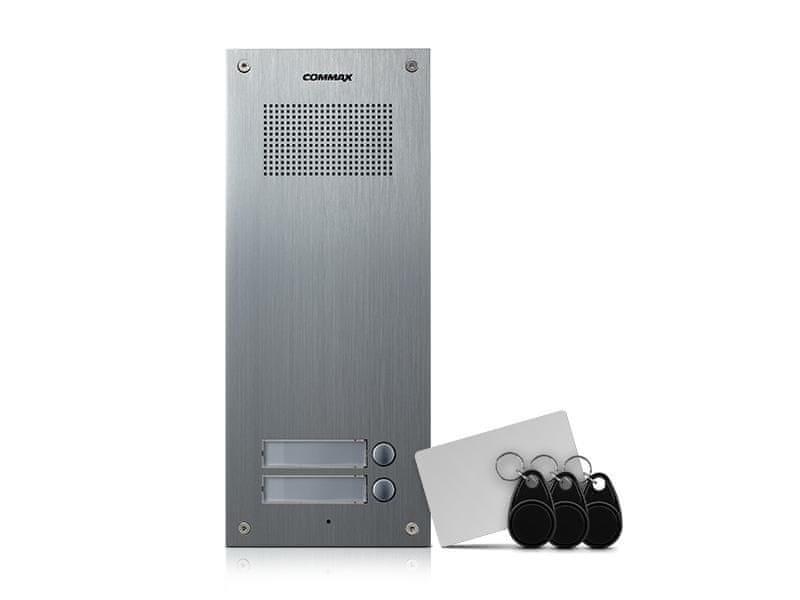 COMMAX DR-2UM/RFID, dveřní audiostanice pro systém 4+n se 2 tlačítky s integrovanou čtečkou