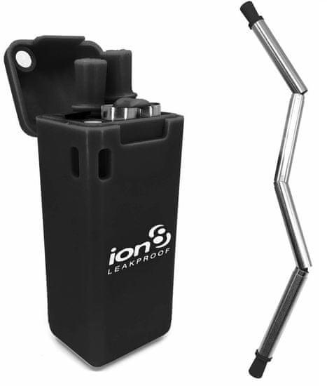 ion8 Összecsukható, rozsdamentes acél szívószálkészítő, fekete