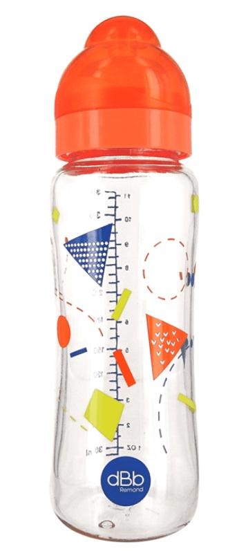 DBB Remond Dětská skleněná lahvička Geometrie 330 ml se širokým hrdlem, oranžová