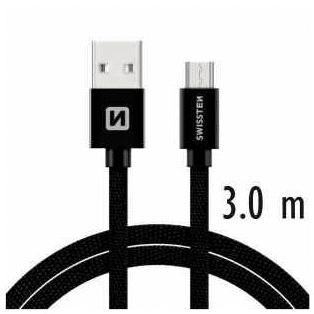 SWISSTEN DATOVÝ KABEL SWISSTEN TEXTILE USB / USB-C 3,0 M ČERNÝ 71527900