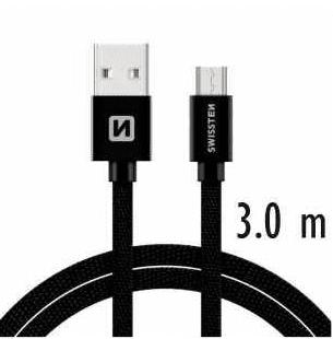 SWISSTEN DATOVÝ KABEL SWISSTEN TEXTILE USB / MICRO USB 3,0 M ČERNÝ 71527300