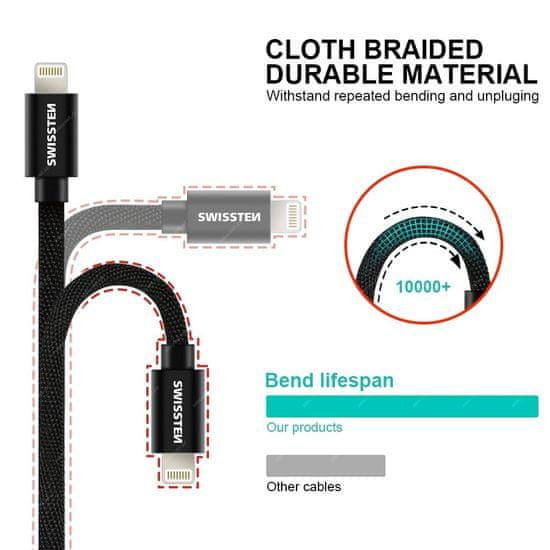 SWISSTEN podatkovni kabel Textile USB/USB-C 3 m, rdeč 71527901