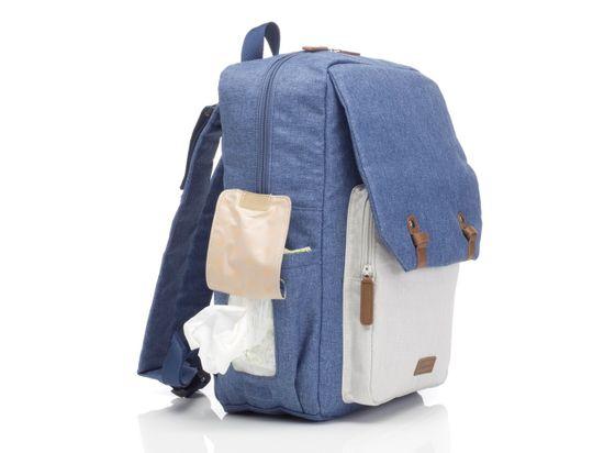 BABYMEL George prebaľovací batoh Mid-Blue-Oatmeal