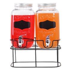 TORO Poháre na nápoj s kohútikom a kovovým stojanom 2x 3,5 l