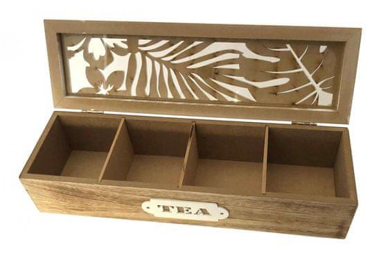 DUE ESSE Dřevěný box na čaj TROPIC, 4 přihrádky