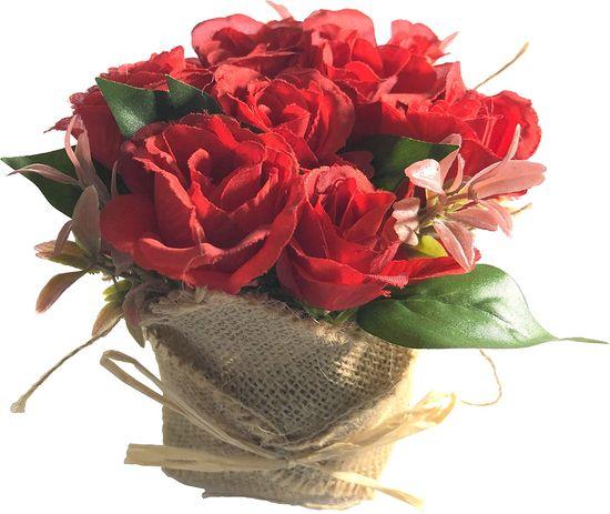 DUE ESSE Červené růže v květináči z juty, 15 cm